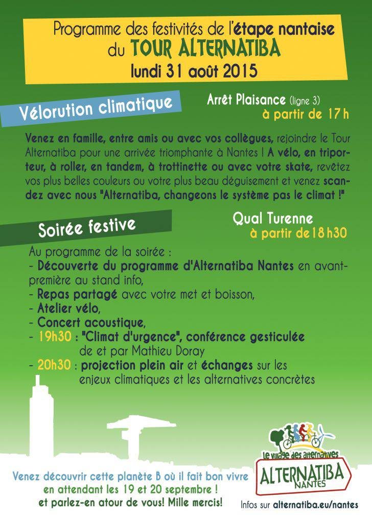 Programme Tour Alternatiba Nantes Verso
