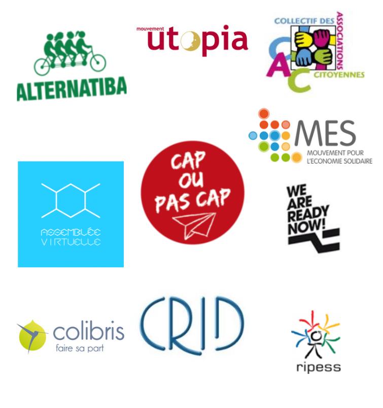 Partenaires Alternatiba Utopia CAC Assemblée Virtuelle Cap ou Pas Capp MES WARN Colibris CRID RIPESS